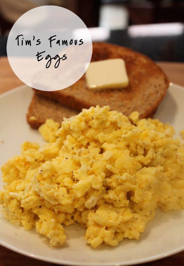 tim s famous scrambled eggs with feta and cheddar good idea i