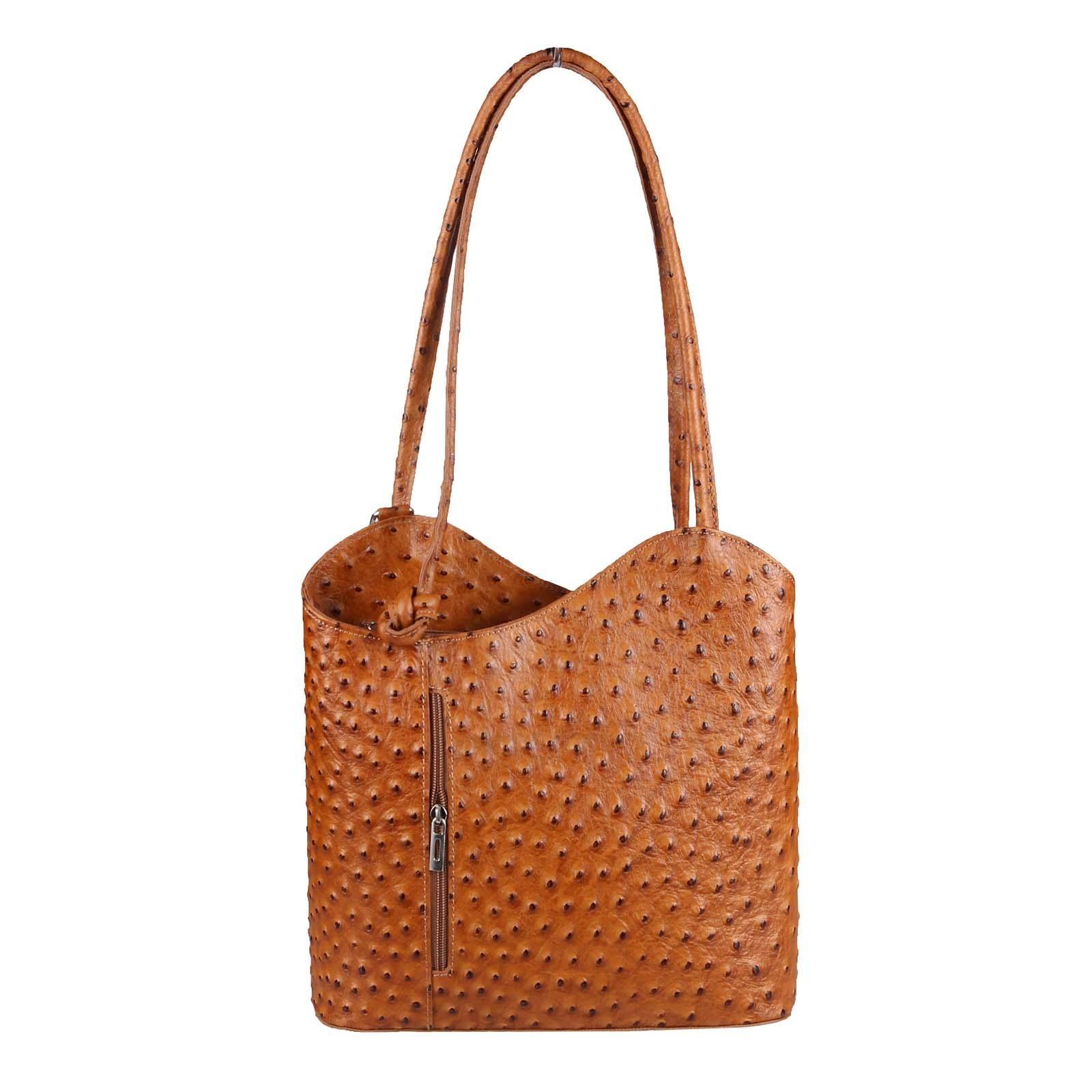 0ec1dd87c32b52 ITAL DAMEN LEDER TASCHE RUCKSACK Handtasche Umhängetasche Schultertasche  Shopper Henkeltasche Strauß Prägung Ledertasche Backpack .