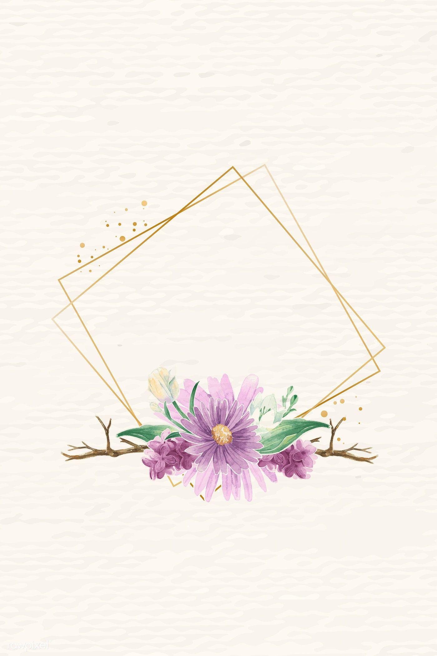 Download premium vector of Rhombus gold flower frame