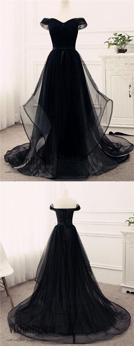 Black off the shoulder lace up floor length prom dress cheap prom