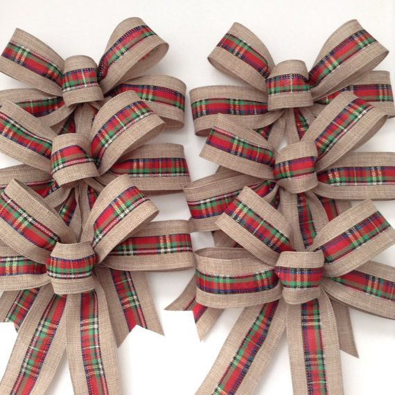 Christmas Burlap And Plaid Small Bows Set Of 6 Christmas Tree Bows Handmade And Design In Wired Rib Christmas Tree Bows Burlap Christmas Ornaments Burlap