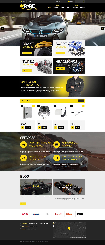 Auto Parts Responsive Shopify Theme Site Design