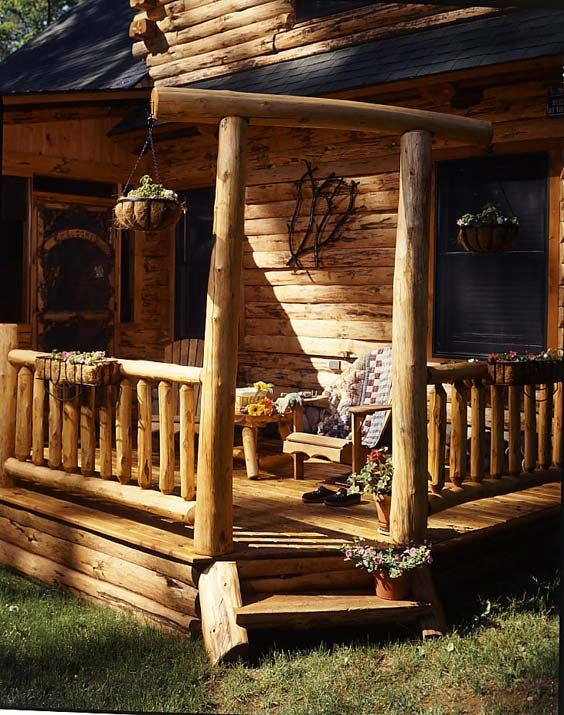 photos of a waterfront log home | cabin porches, cabin and porch