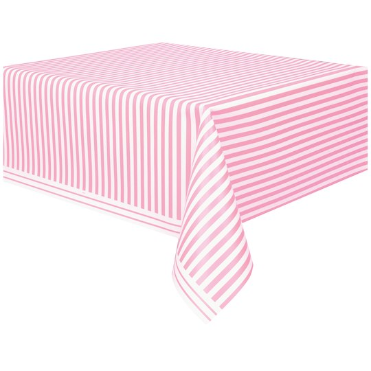 Unique Plastic Light Pink Striped Table Cover 108 X 54