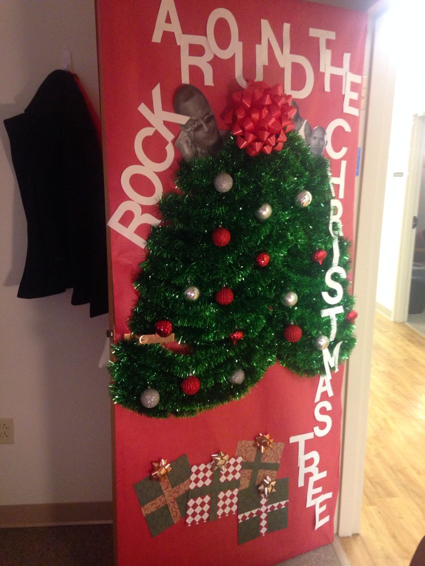 Funny door decorating idea this year. Office door decorations for Christmas.  Rock around & Funny door decorating idea this year. Office door decorations for ...
