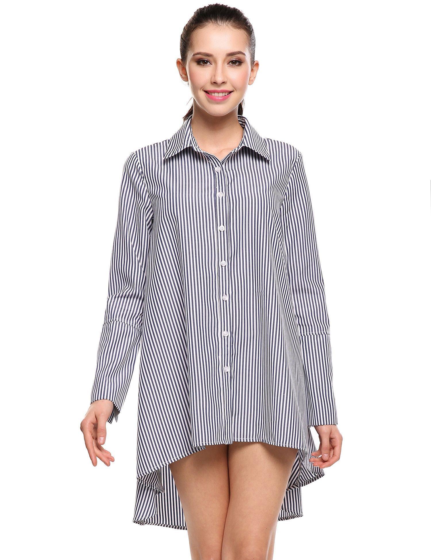 ee85fece00e Light blue Turn-down Collar Cuffs Split Striped Asymmetrical Hem Shirt  Casual Dress