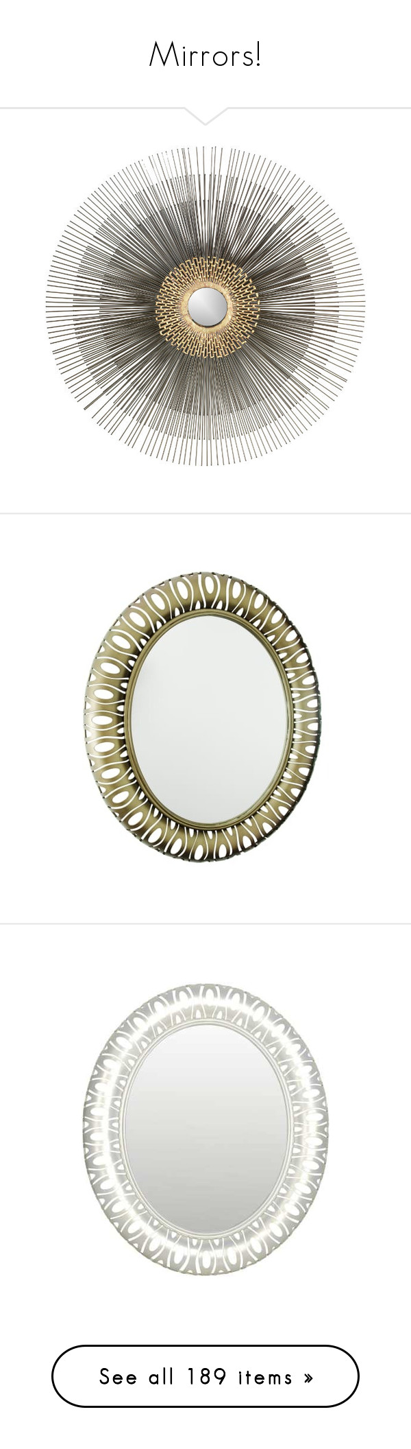 """""""Mirrors!"""" by jewelsinthecrown ❤ liked on Polyvore featuring home, home decor, mirrors, decorating, geometric home decor, spring home decor, geometric mirror, crate and barrel mirrors, crate and barrel wall mirror and bronze"""