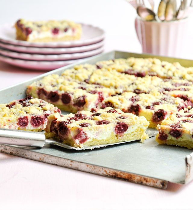 Photo of Cherry curd crumble cake. Perfect Sunday cake.