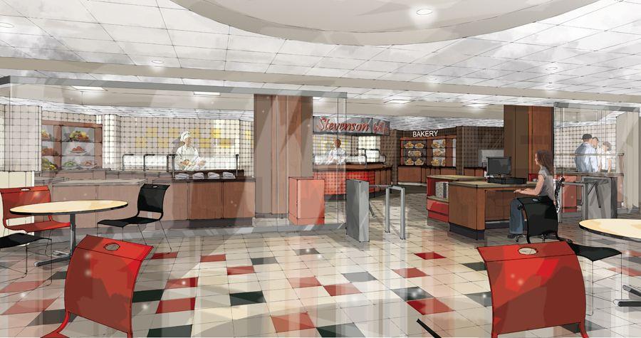 U0027Stevensonu0027 Cafeteria 3D Perspective . Digital Line Work With Hand Look .  Digital Airbrush
