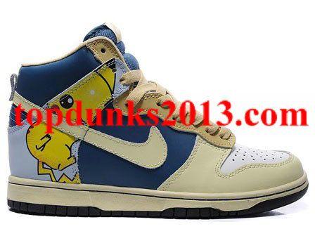 a90f54e93a2 Navy Cream Coloured Pikachu Pokemon Print Nike Dunk Men High Top Sale  Online Cheap