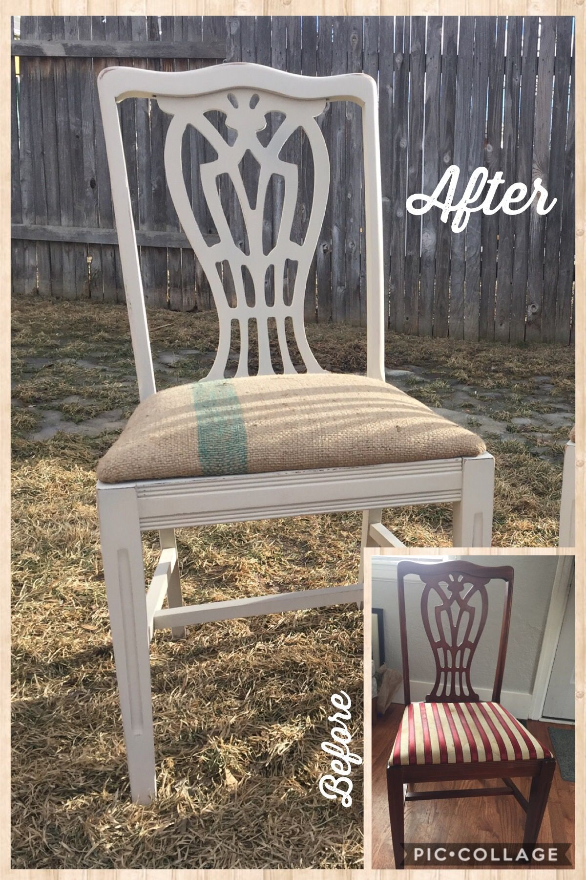 Before And After Farmhouse Style Dining Room Chairs With Burlap Seat Cushion I Love Doing Furnitur Home Decor Farmhouse Style Dining Room Handmade Home Decor