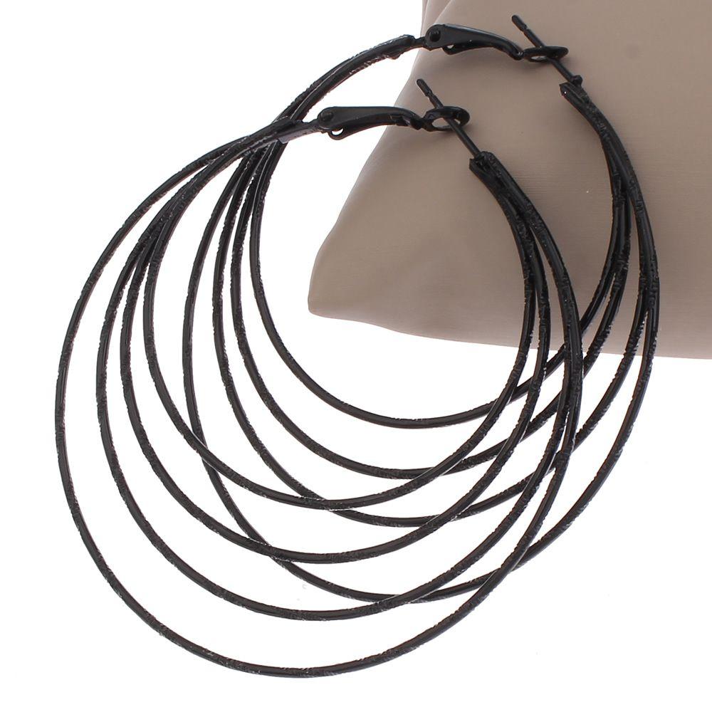 새로운 도착 빈티지 펑크 보석 브랜드 큰 둥근 원형 후프 귀걸이 3 Cricles 블랙 후프 귀걸이 여성 액세서리 귀걸이