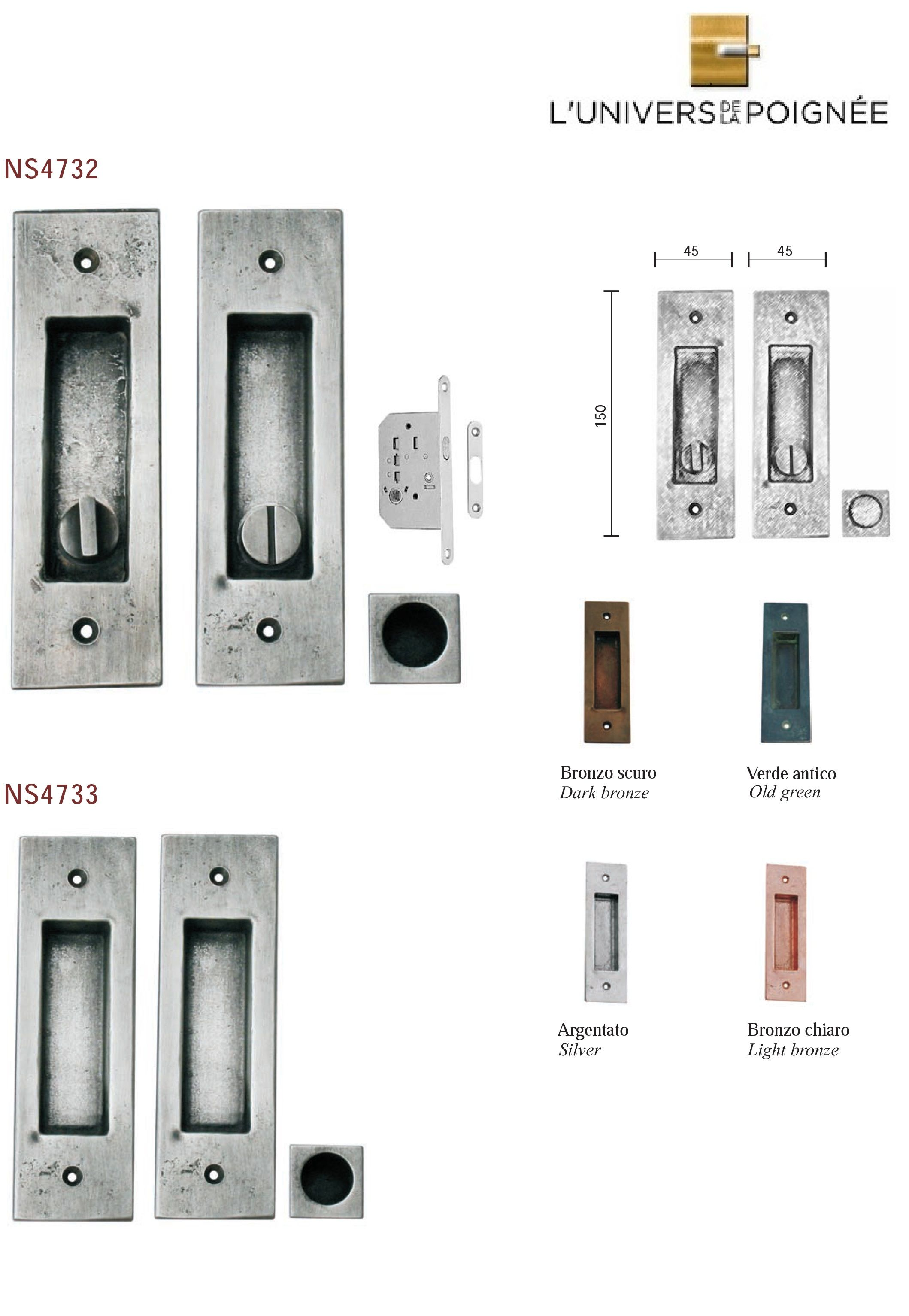 Kit encastr pour porte coulissante bronze collection l - Poignee de porte invisible ...
