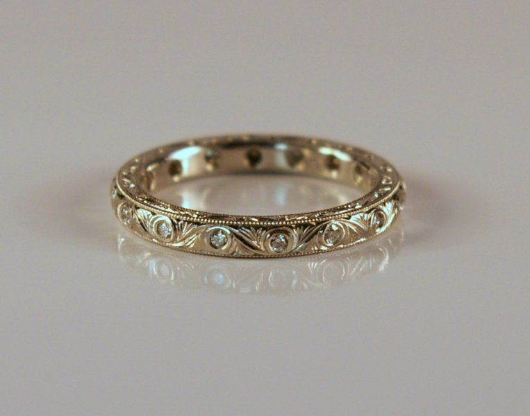 diamond set hand engraved ring from httpcranejewelerscom - Engraved Wedding Rings