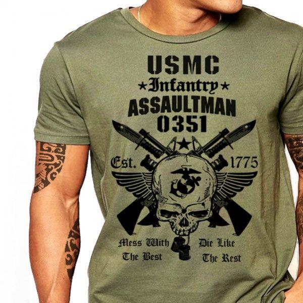 USMC T-Shirt 0351 Assaultman Infantry United States Marines Cotton ...
