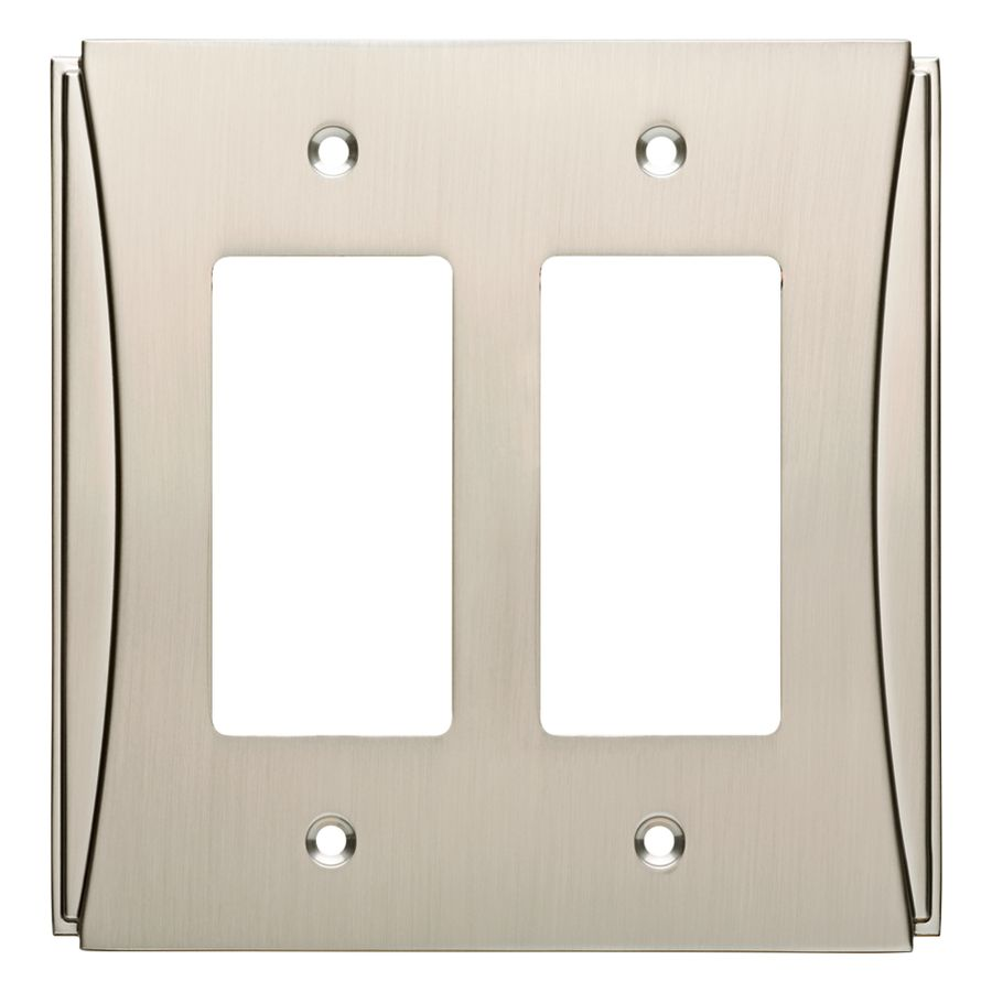 Metal Wall Plate Covers Brainerd Upton 2Gang Satin Nickel Double Decorator Wall Plate