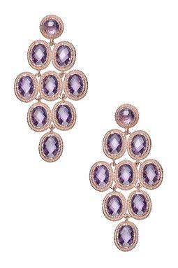 Amethyst CZ Multi-Circle Drop Earrings