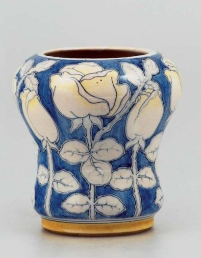Galileo Chini (1873-1956), Glazed Decorated Ceramic Vase.