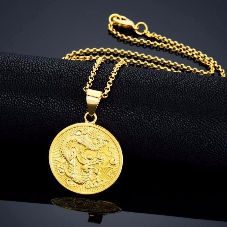 Round chinese dragon pendant necklacemen or women products