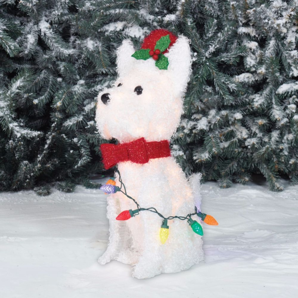 Holiday Time Light Up Fluffy White Terrier Dog Christmas