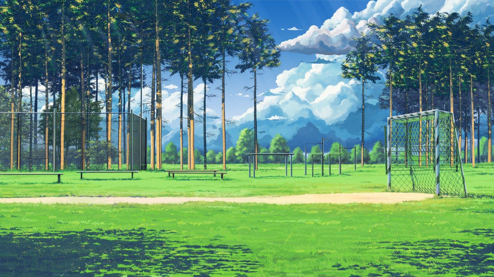 Soccer Field 1920 1080 R Wallpapers Pemandangan Anime Latar Belakang Pemandangan