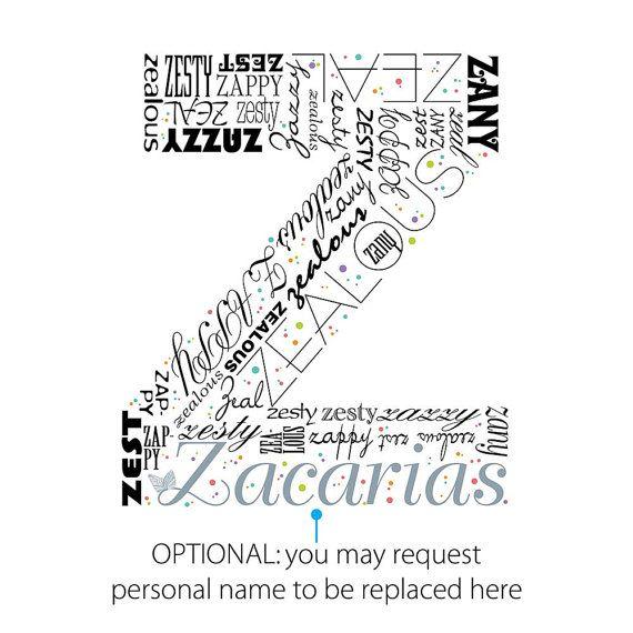 Positive words start with Letter Z Alphabet Z monogram ...