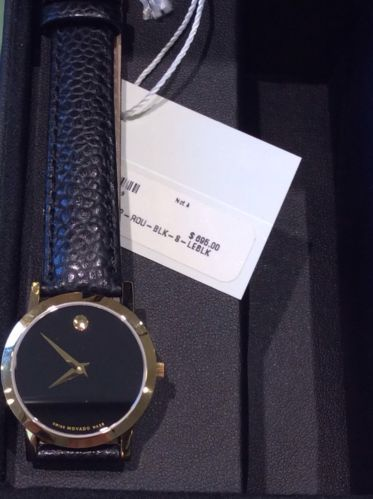 Movado Woman's Museum Gold-tone Black Leather Band Watch
