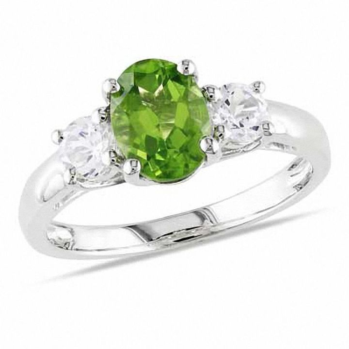 Zales Oval Peridot and Lab-Created White Sapphire Ring in Sterling Silver 1QVnA