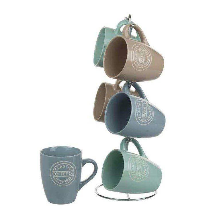 Classic Coffee Six Piece Mug Set With Stand In 2020 Mugs Set
