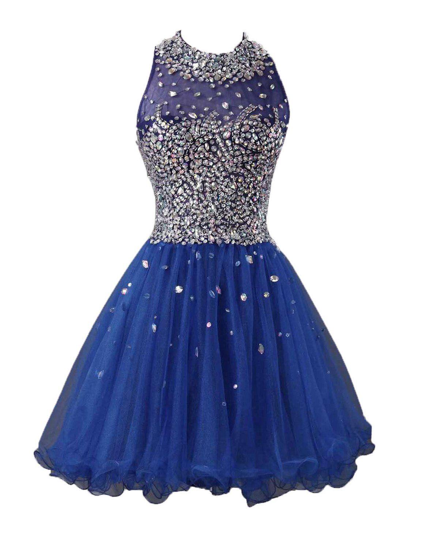 Lovingdress womenus homecoming dresses tulle a line high neck short