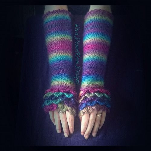 Celestial Serpent Dragon Scale Mid Length Arm Warmers