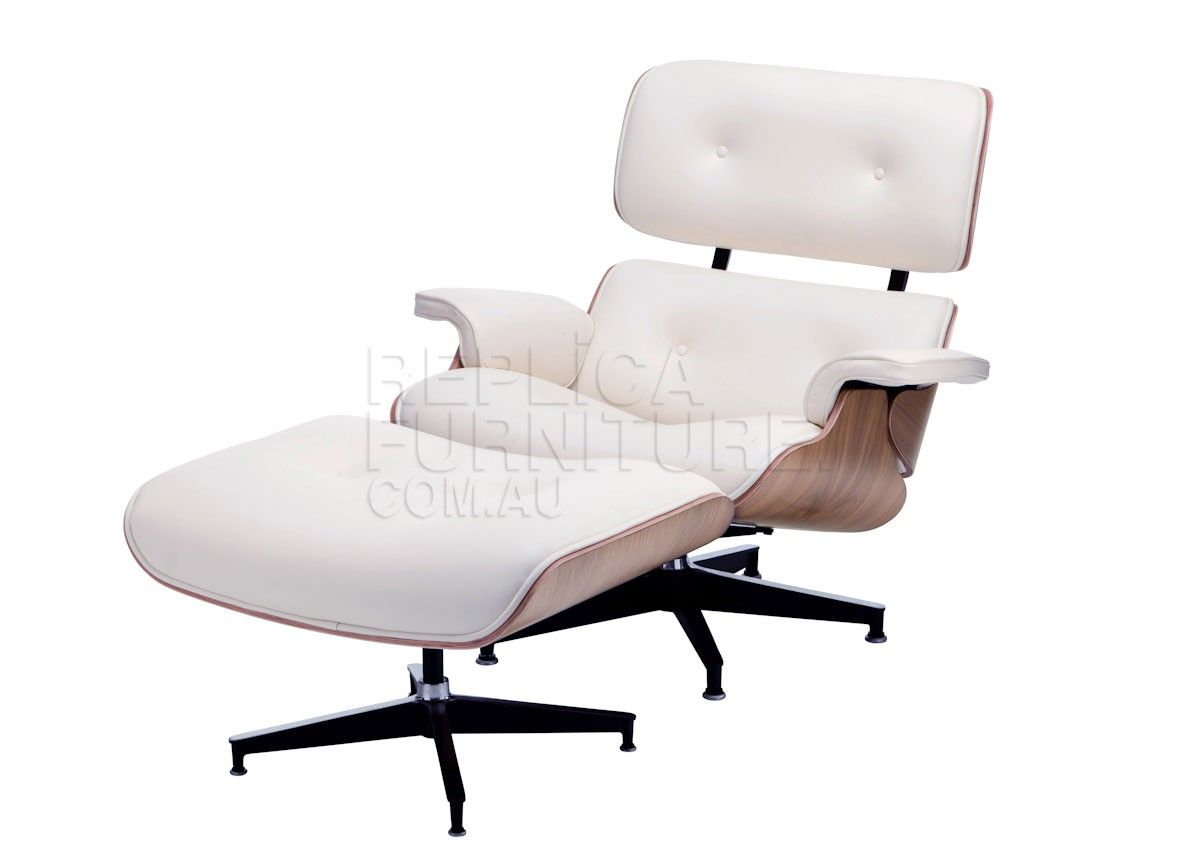 replica charles eames lounge and ottoman walnut and white leather