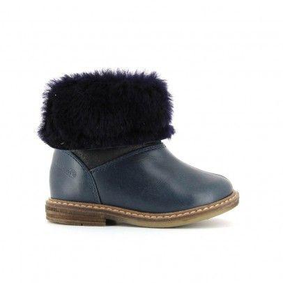093536d66ee47 Bottines Fourrées Retro Chabraque Bleu marine Pom d Api Best Baby Shoes