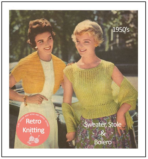 1950s Rockabilly Style Sweater, Stole and Bolero - Vintage Knitting ...