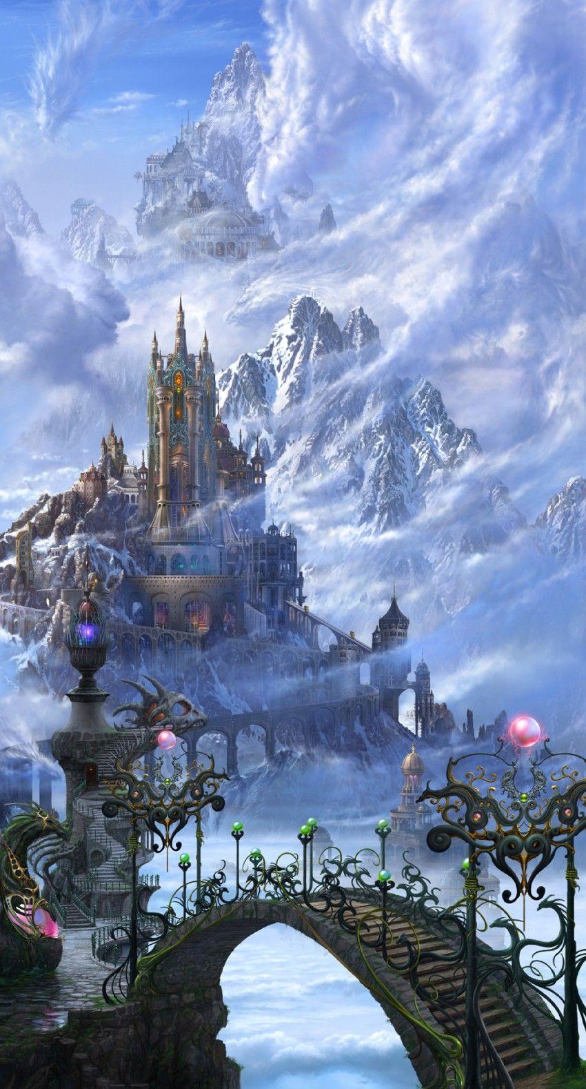 Un Chateau Dans Les Nuages pont du château de nuages froids dragon fantasy highres