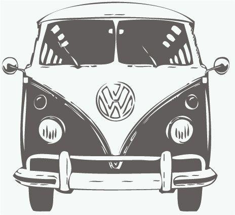 Volkswagen 2017 Muursticker Volkswagen T1 Front Vw Bus With