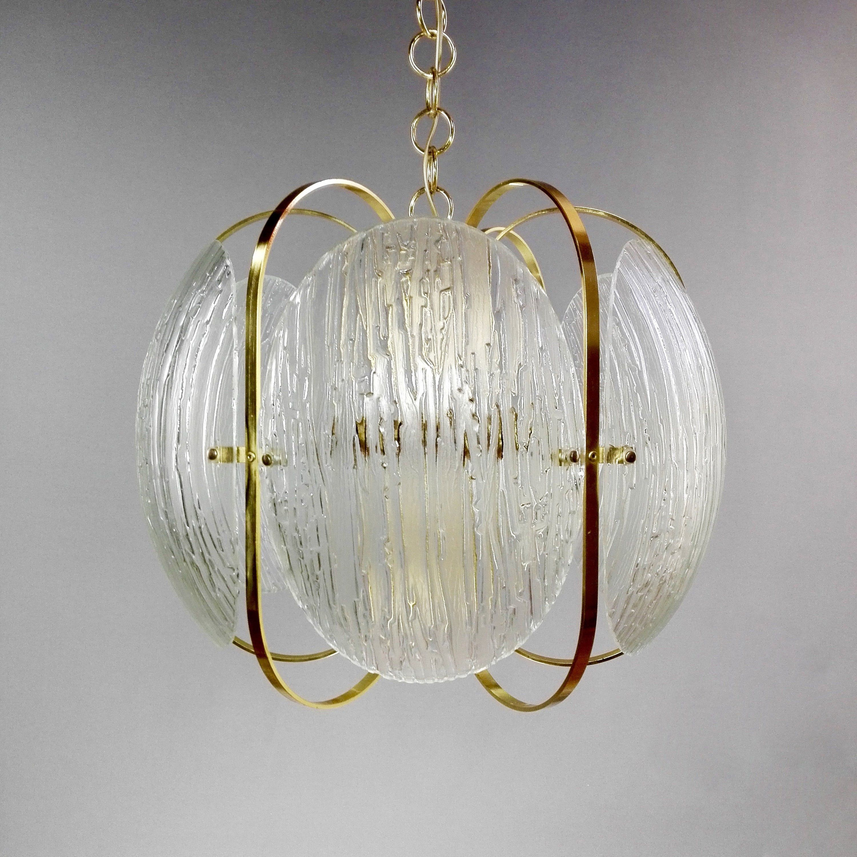 70s glasses Gorgeous and very rare large 70s six lights gilded and glass chandelier.