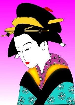 japanese women art | Free vector >> Vector clip art >> Japanese Woman clip art