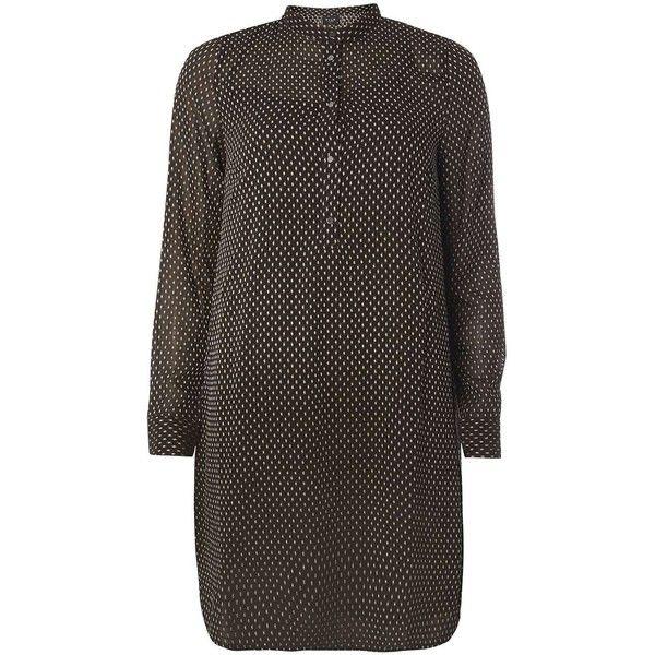 Dorothy Perkins **Vila Black Textured Dot Dress ($44) ❤ liked on Polyvore featuring dresses, black, textured dress, polka dot dress, spotted dress, dorothy perkins dress and dorothy perkins