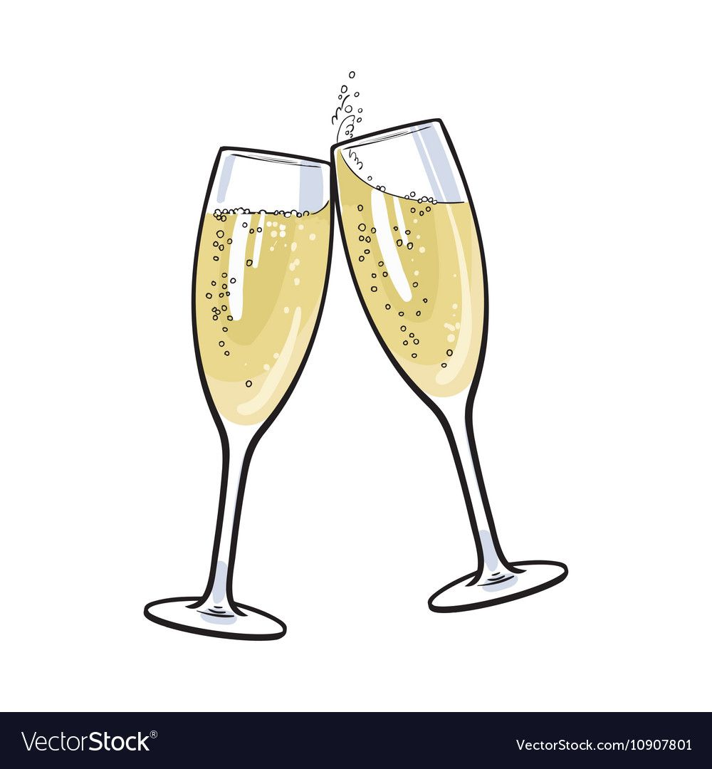 Pair Of Champagne Glasses Set Of Sketch Style Vector Illustration Isolated On White Background Hand Dr Wine Glass Drawing Wedding Drawing Canvas Art Projects