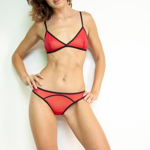 db2bd9603015 See through sexy underwear set is a bralette with red soft cup & hot mesh  panties. Sheer bralette looks ...
