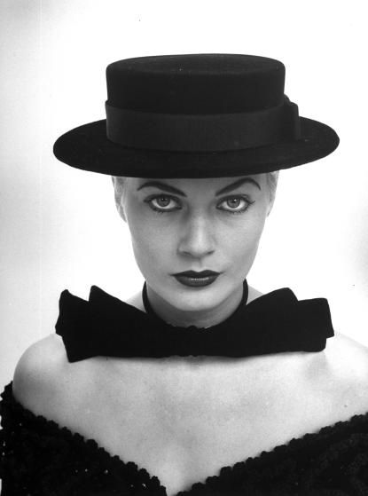 e8ab5c8a7c9 Miss Sweden Anita Ekberg sports a severely styled sailor hat during her hat-buying  spree while visiting the U.S.