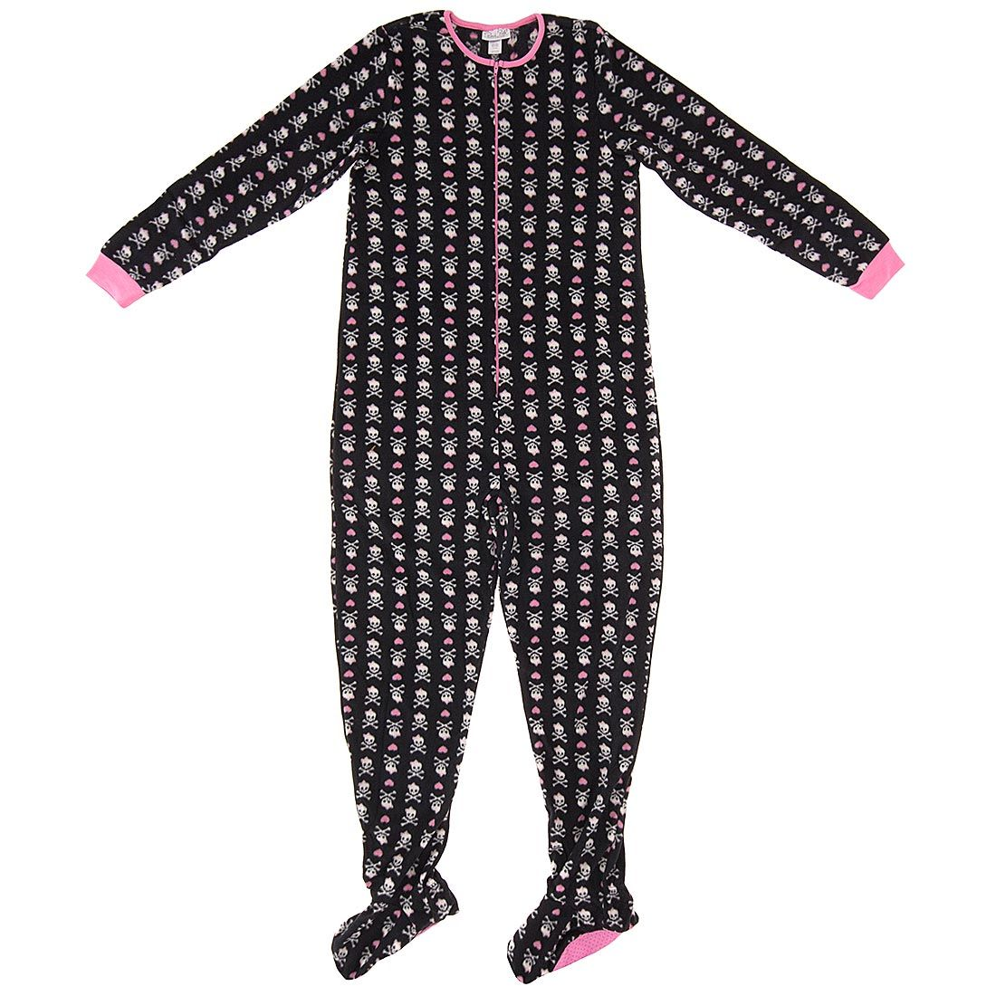9b2d7b7af4 Black Skull and Heart Footed Pajamas for Women - Click to enlarge ...