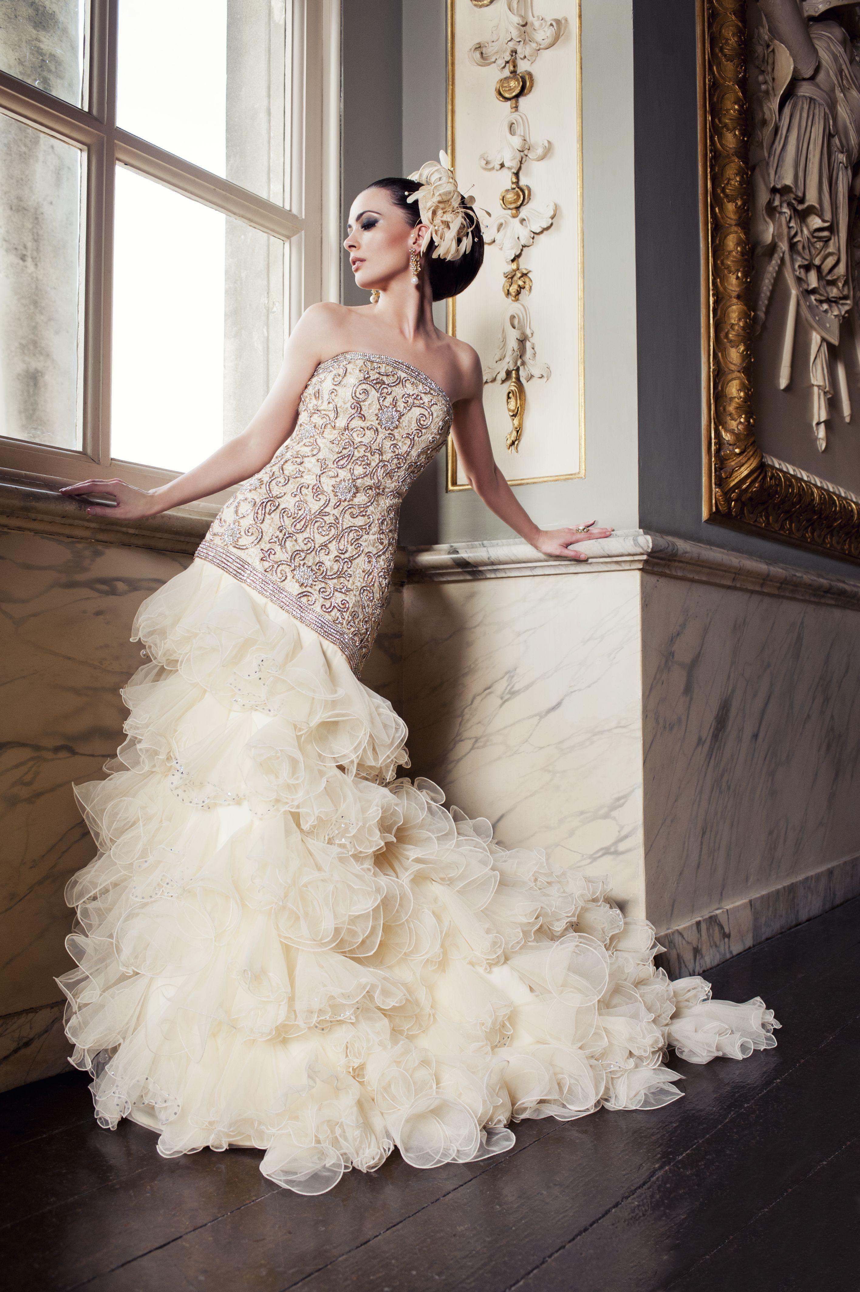 WS02 brocade silk reception gown with Swarovski crystal