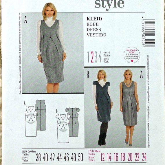 Dress, M L XL XXL, Burda 7320 Pattern for Women, Fitted, V Neck ...