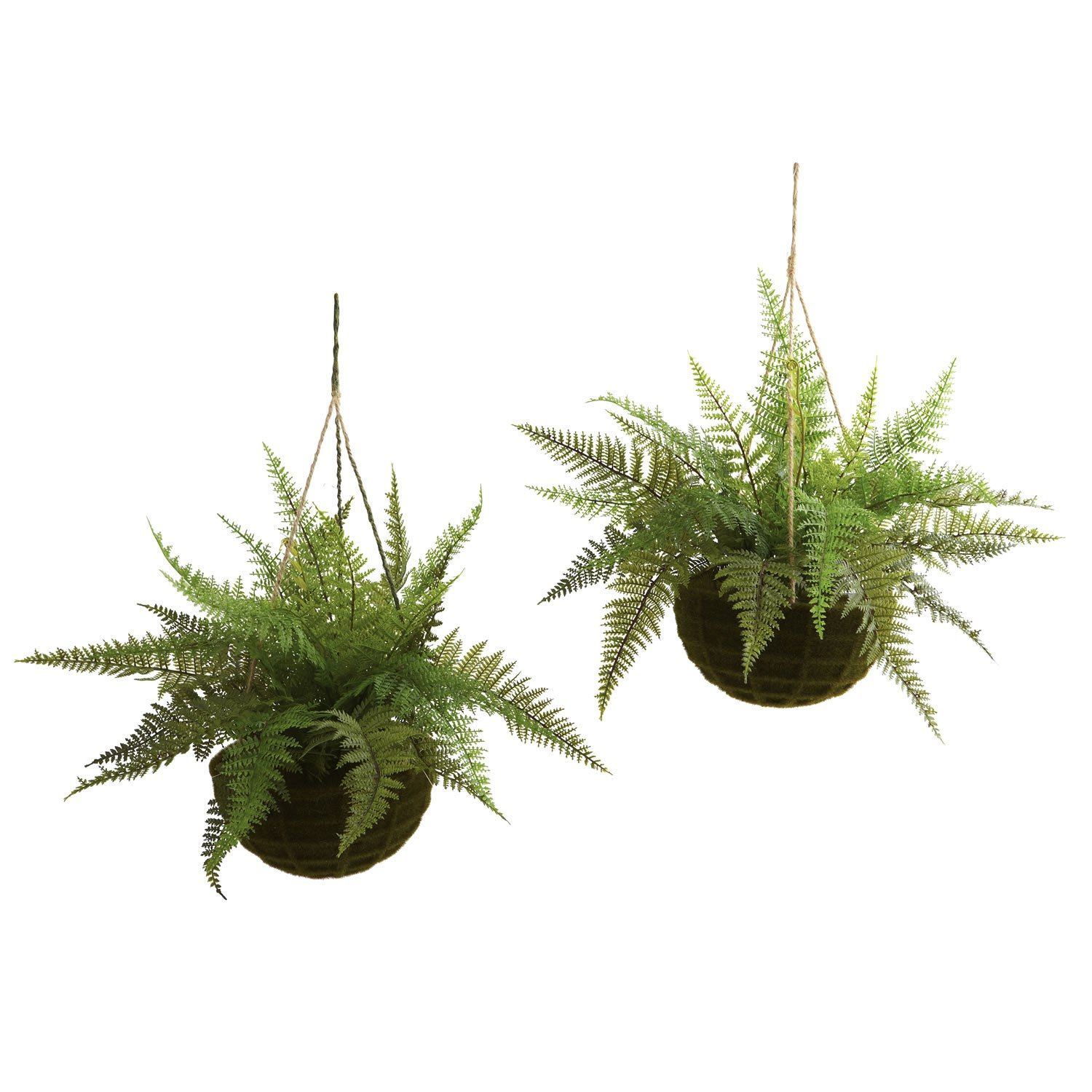 Silk 13 Leather Fern W Mossy Hanging Basket Indoor Outdoor Set Of 2