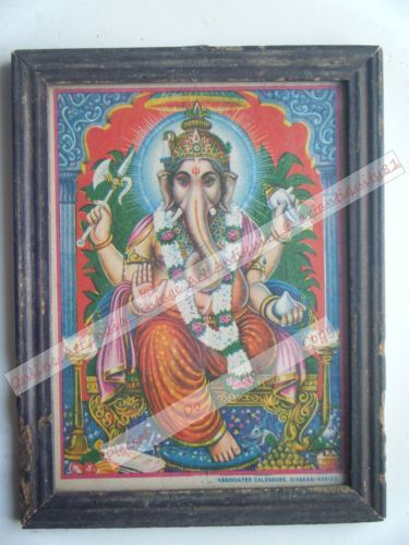 Rare Ganesha Temple Worship Religious Old Print in Old Wooden Frame India #2441