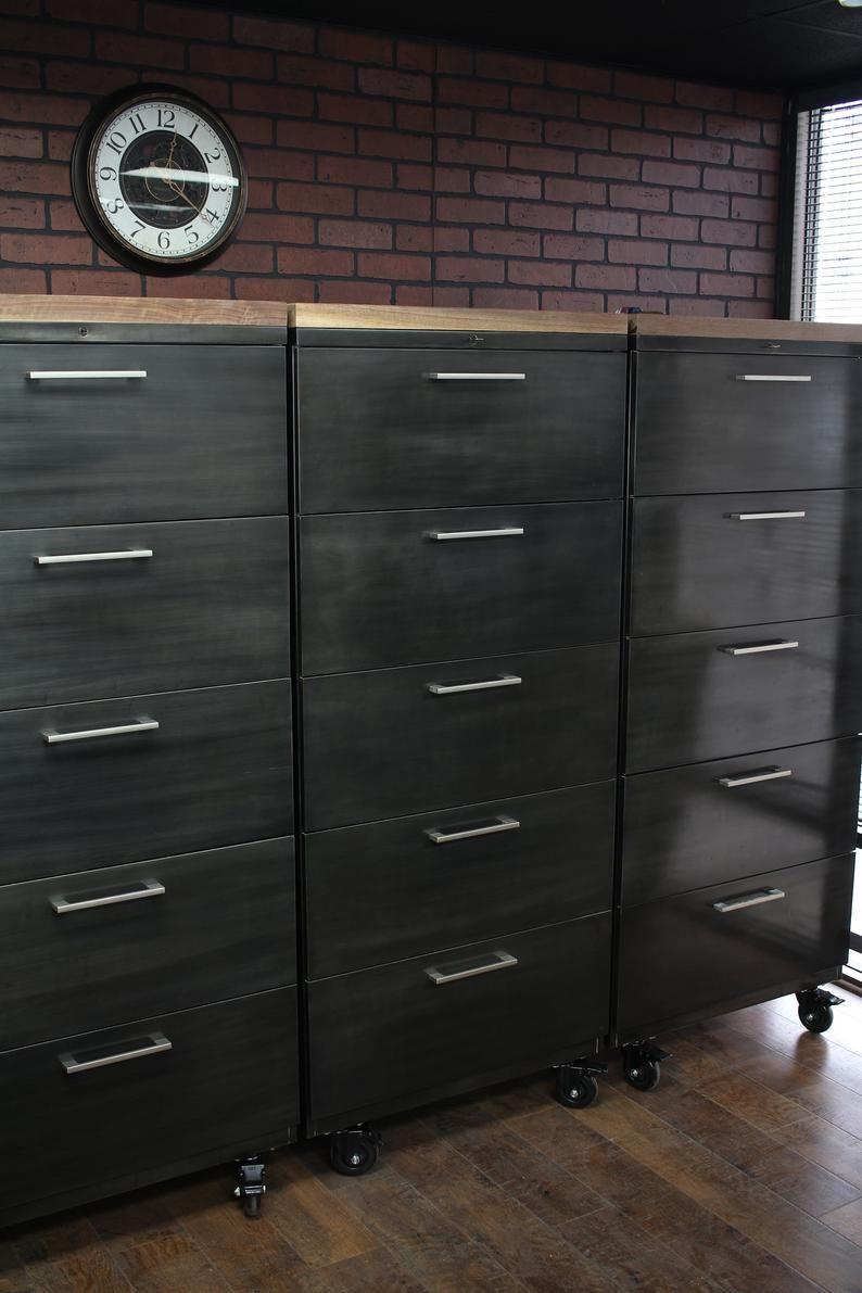 Refinished Large 5 Drawer Metal Filing Cabinet W Wood Top Etsy In 2020 Filing Cabinet Metal Filing Cabinet Cabinet