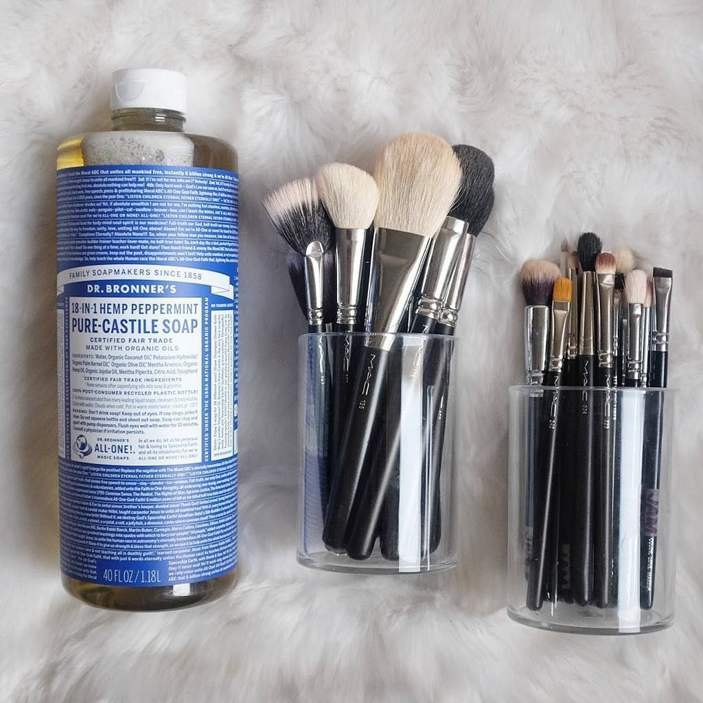 How To Clean Make Up Brushes Naturally Green Cleaning With Dr Bronner S Castile Soap How To Clean Makeup Brushes Clean Makeup Diy Makeup Brush
