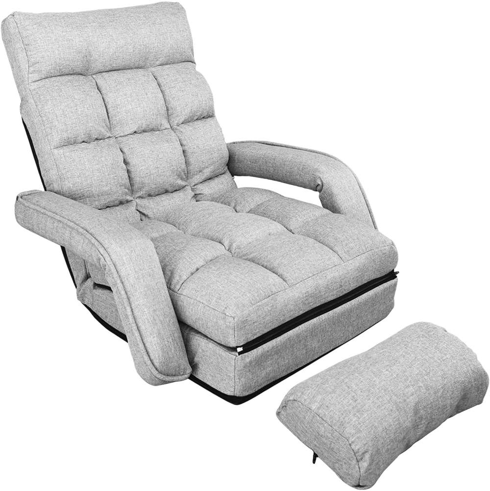 Waytrim Indoor Chaise Lounge Sofa Folding Lazy Sofa Floor Chair 6 Position Folding Padded Lounger Bed Wit Couch With Chaise Lazy Sofa Lounge Sofa